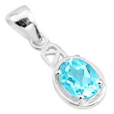 925 sterling silver 1.84cts natural blue topaz oval shape pendant jewelry t9025