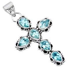 925 sterling silver 10.32cts natural blue topaz pear holy cross pendant r55804