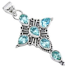 925 sterling silver 10.39cts natural blue topaz pear holy cross pendant r55854