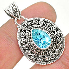 925 sterling silver 2.50cts natural blue topaz pear pendant jewelry t32564