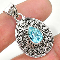 925 sterling silver 2.58cts natural blue topaz pear pendant jewelry t32614