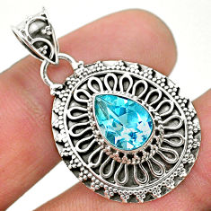 925 sterling silver 2.44cts natural blue topaz pear pendant jewelry t32631
