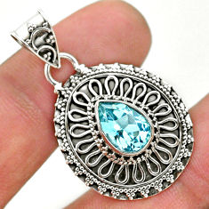 925 sterling silver 2.54cts natural blue topaz pear pendant jewelry t32635