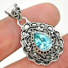 925 sterling silver 2.51cts natural blue topaz pear pendant jewelry t32637