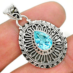 925 sterling silver 2.63cts natural blue topaz pear pendant jewelry t32639