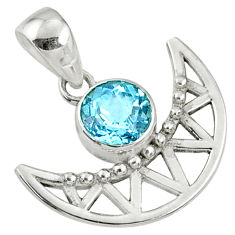 925 sterling silver 2.72cts natural blue topaz round half-moon pendant r67746