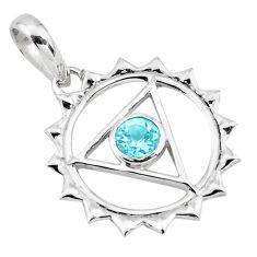 925 sterling silver 0.98cts natural blue topaz round pendant jewelry d45644
