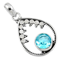925 sterling silver 2.98cts natural blue topaz round pendant jewelry r57784