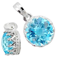 925 sterling silver 5.09cts natural blue topaz round pendant jewelry t12164