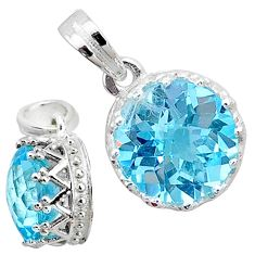 925 sterling silver 5.11cts natural blue topaz round pendant jewelry t12169