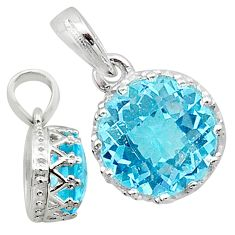 925 silver handmade 5.02cts natural blue topaz round pendant jewelry t16739