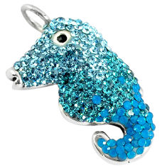 925 sterling silver natural blue topaz round seahorse pendant jewelry c20842