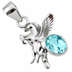 925 sterling silver 3.29cts natural blue topaz unicorn pendant jewelry r48320
