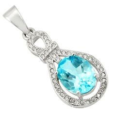 925 sterling silver 5.22cts natural blue topaz white topaz pendant jewelry c9990