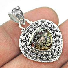 925 sterling silver 4.87cts natural bronze wild horse magnesite pendant t56165