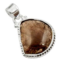 Clearance Sale- 925 sterling silver 14.72cts natural brown agni manitite pendant jewelry d45516