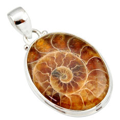 925 sterling silver 22.02cts natural brown ammonite fossil oval pendant r33969
