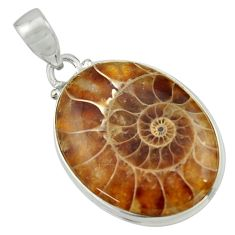 925 sterling silver 22.05cts natural brown ammonite fossil oval pendant r41844