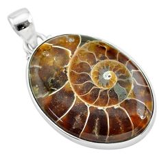 925 sterling silver 25.00cts natural brown ammonite fossil oval pendant t21594