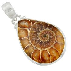 925 sterling silver 17.22cts natural brown ammonite fossil pear pendant r41853