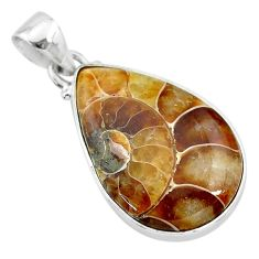 925 sterling silver 14.72cts natural brown ammonite fossil pear pendant t21578