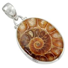 925 sterling silver 21.48cts natural brown ammonite fossil pendant r41847