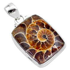 925 sterling silver 17.73cts natural brown ammonite fossil pendant t42453