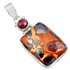 925 sterling silver 20.65cts natural brown bauxite garnet pendant jewelry d42170
