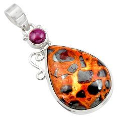 925 sterling silver 19.72cts natural brown bauxite garnet pendant jewelry d42176