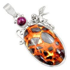 925 sterling silver 28.30cts natural brown bauxite garnet pendant jewelry d42178