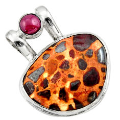 925 sterling silver 23.95cts natural brown bauxite garnet pendant jewelry r31944