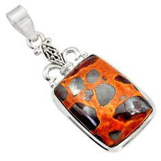 Clearance Sale- 925 sterling silver 21.18cts natural brown bauxite octagan pendant d42166
