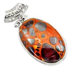 925 sterling silver 25.57cts natural brown bauxite oval pendant jewelry d42173