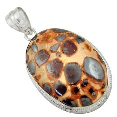 925 sterling silver 26.65cts natural brown bauxite oval pendant jewelry r41664