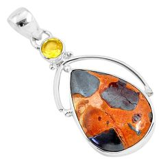 925 sterling silver 15.08cts natural brown bauxite pear citrine pendant r94650