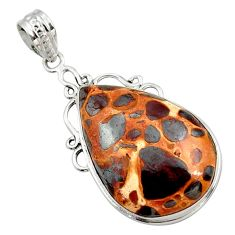 925 sterling silver 20.65cts natural brown bauxite pear pendant jewelry r27936