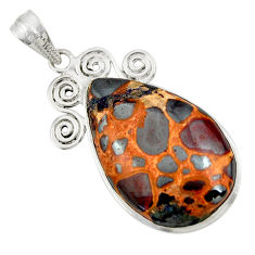 925 sterling silver 22.30cts natural brown bauxite pear pendant jewelry r31958
