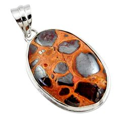 925 sterling silver 17.57cts natural brown bauxite pendant jewelry r27719