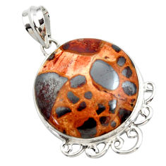 925 sterling silver 20.07cts natural brown bauxite pendant jewelry r27939