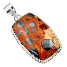 925 sterling silver 24.00cts natural brown bauxite pendant jewelry r31948