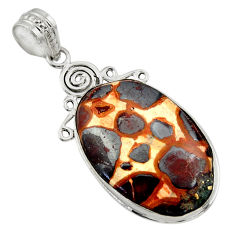 925 sterling silver 20.07cts natural brown bauxite pendant jewelry r31955