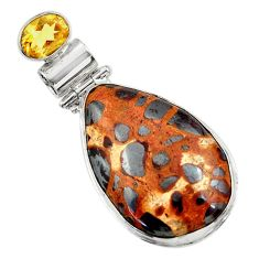 925 sterling silver 22.44cts natural brown bauxite yellow citrine pendant r31951