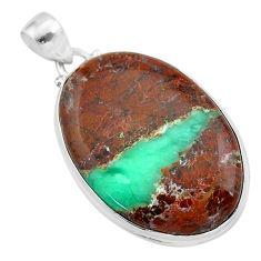 925 sterling silver 28.08cts natural brown boulder chrysoprase pendant t42438