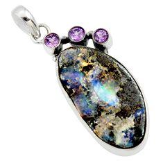 925 sterling silver 28.76cts natural brown boulder opal amethyst pendant r36239