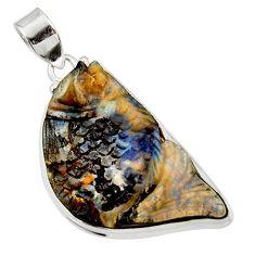 925 sterling silver 33.68cts natural brown boulder opal carving pendant d45183