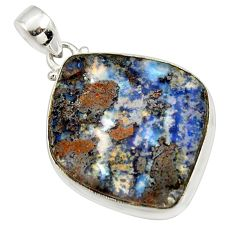925 sterling silver 31.00cts natural brown boulder opal fancy pendant r36268