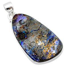 925 sterling silver 27.65cts natural brown boulder opal fancy pendant t22324
