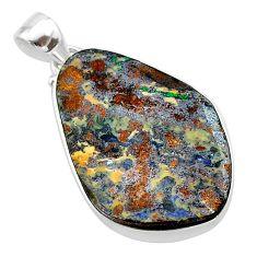 925 sterling silver 18.73cts natural brown boulder opal fancy pendant t22328