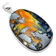 925 sterling silver 34.26cts natural brown boulder opal fancy pendant t22335