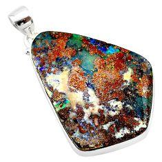 925 sterling silver 28.73cts natural brown boulder opal fancy pendant t22370